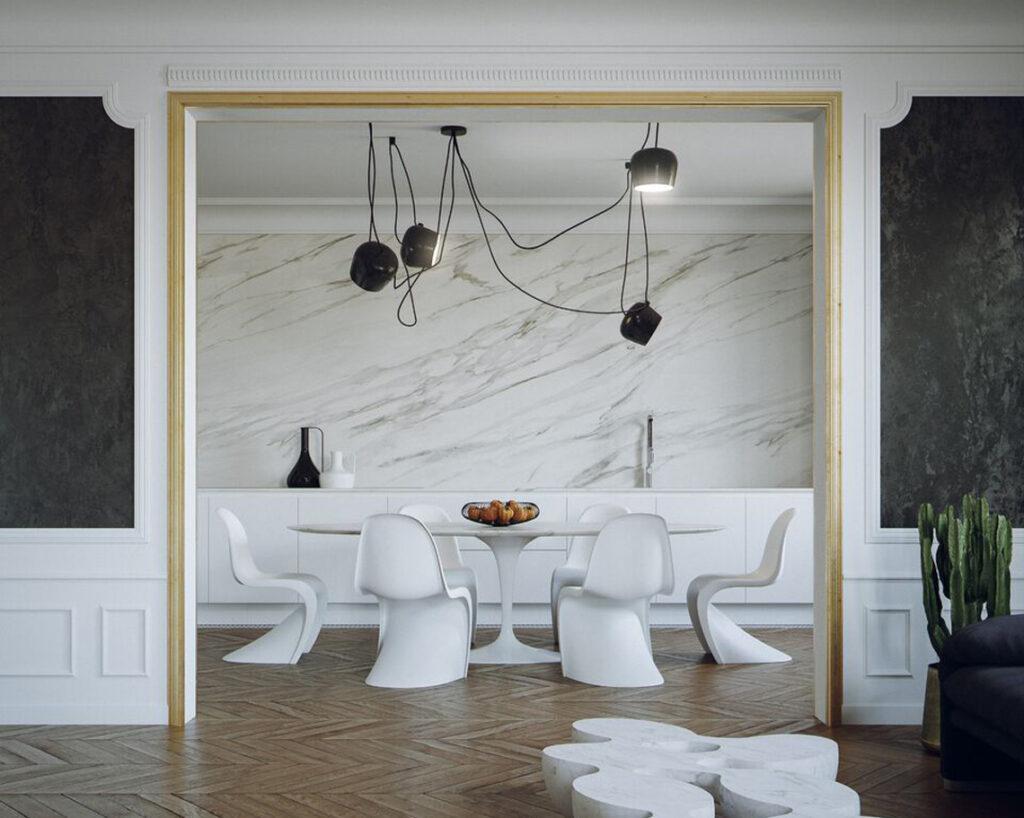 marmorino nero alle pareti, restyling di una appartamento a Parigi