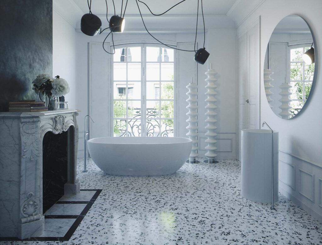 Terrazzo alla veneziana e marmorino nero