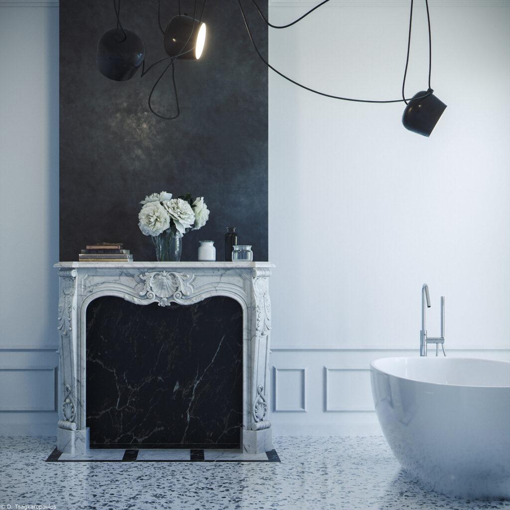 marmorino nero e terrazzo alla veneziana